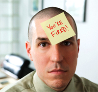 "Man with ""you're fired"" pasted on his head"