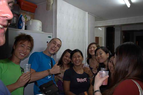 Crowded HDB flat party