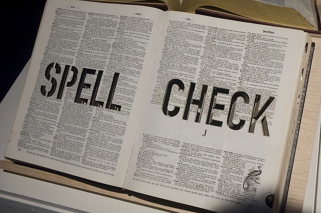 "Big dictionary saying ""spell check"""