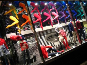 Fashion store display with plenty of colours