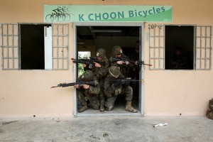 US marines using Singapore urban combat training facility