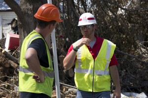 Construction workers talking