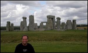 Stonehenge, behind a man