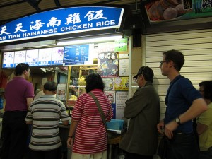Lining up for chicken rice