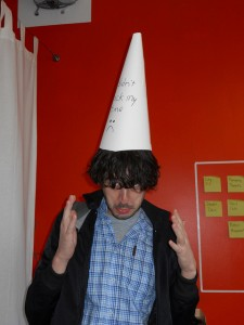 Man in a dunce hat