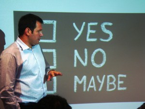 "Powerpoint that says ""yes, no, maybe"""