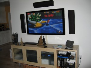 Wide screen TV with video games