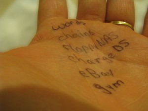 Writing on a palm
