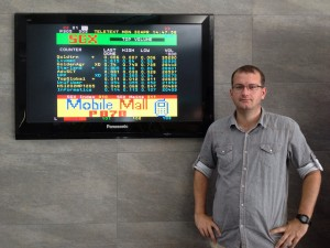 Man standing in front of SGX teletext