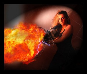 Woman with flamethrower