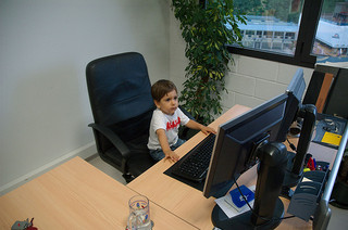 Little kid at computer