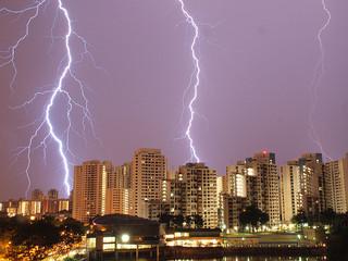 lightning behind flats