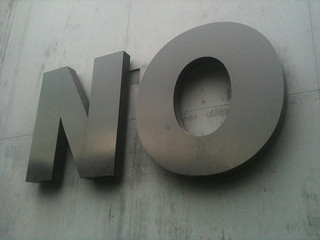 The word NO on a wall
