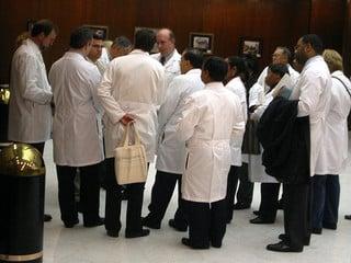 Doctors gathered around