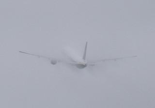 Plane in the rain