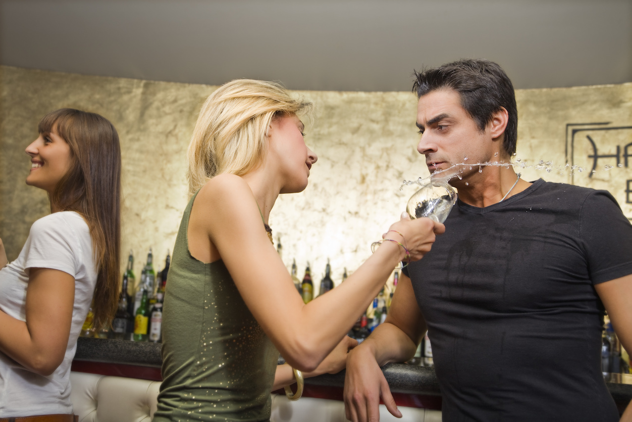 girls night out: horny guy flirting with a girl...without success