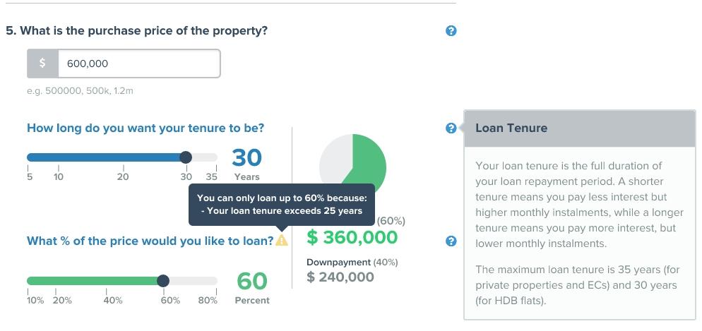 home loan calculator purchase price maximum loan tenure downpayment
