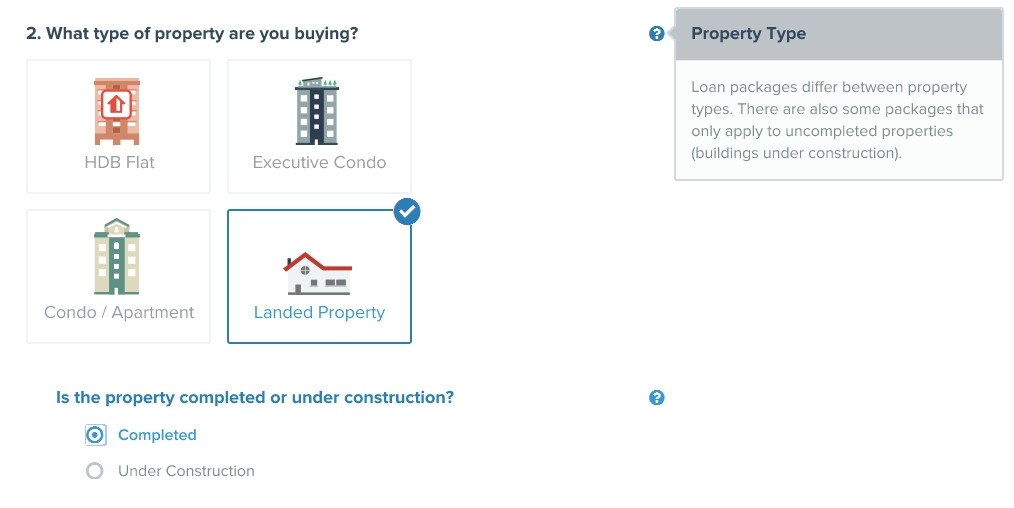 home loan calculator hdb flat executive condo apartment landed property type under construction