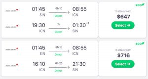 skyscanner singapore to seoul