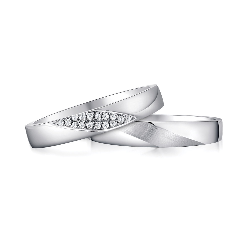 Blossoming Love wedding bands in 14k white gold with pave diamonds ($1,498 for set) from SK Jewellery