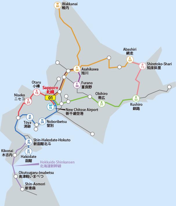 JR Hokkaido Pass map