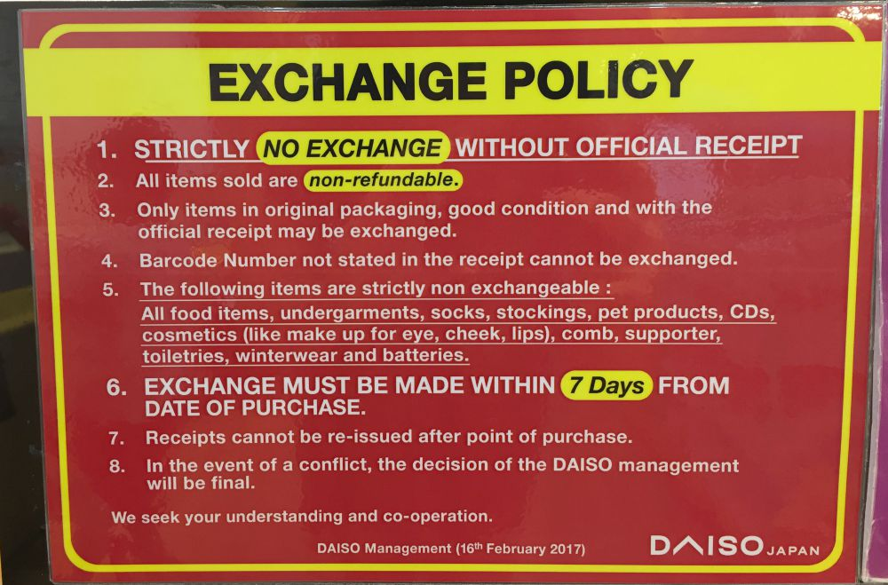 daiso exchange policy