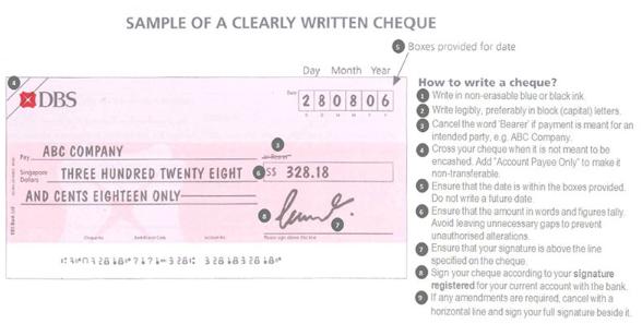 POSB how to write a cheque singapore